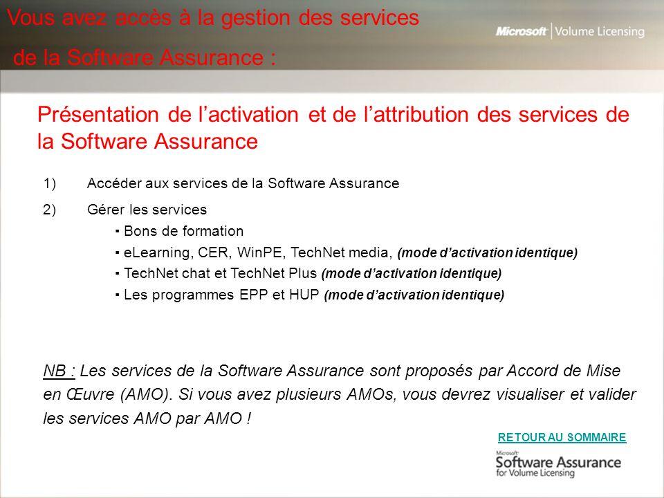 Vous avez accès à la gestion des services de la Software Assurance :