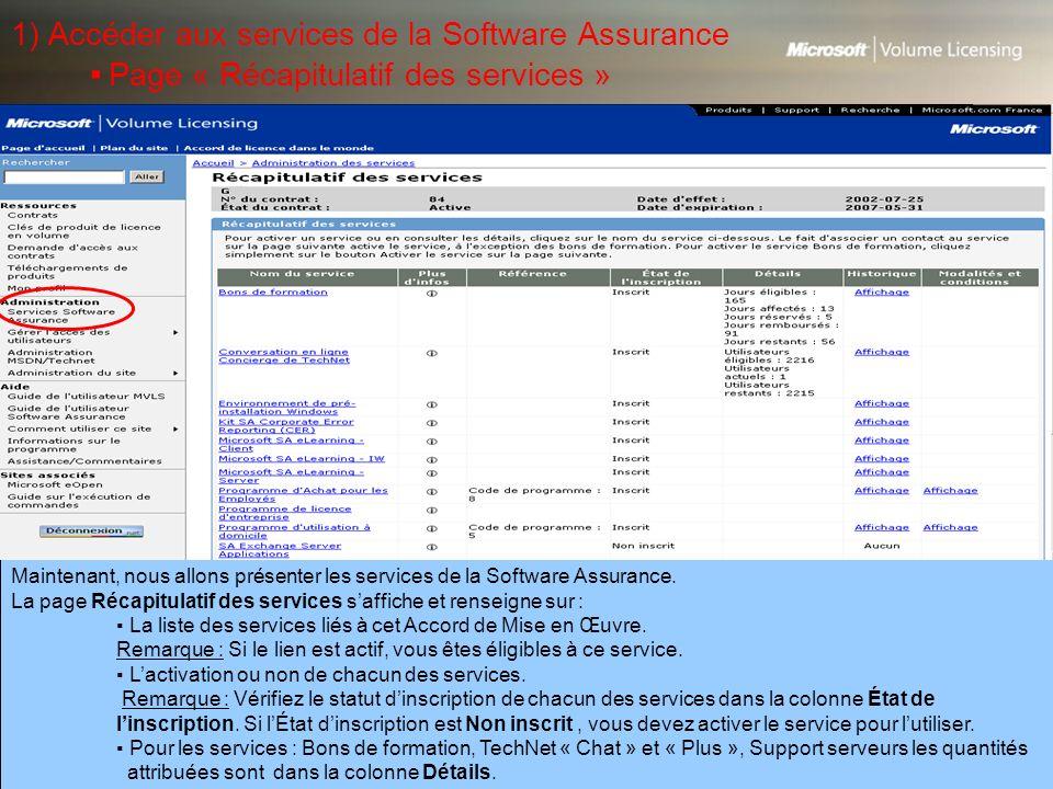1) Accéder aux services de la Software Assurance ▪ Page « Récapitulatif des services »
