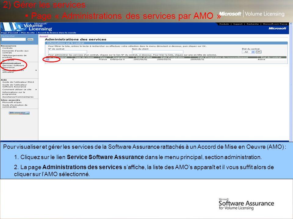 2) Gérer les services ▪ Page « Administrations des services par AMO »