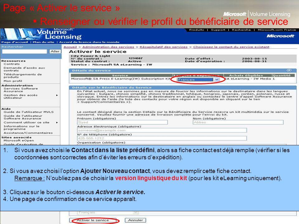 Page « Activer le service »