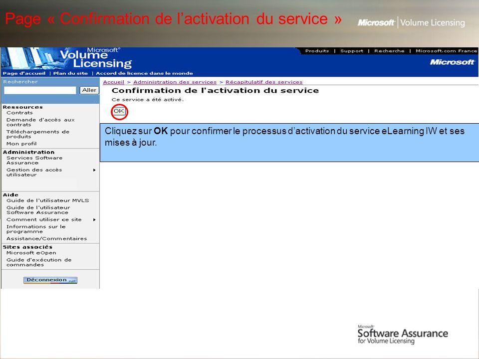 Page « Confirmation de l'activation du service »