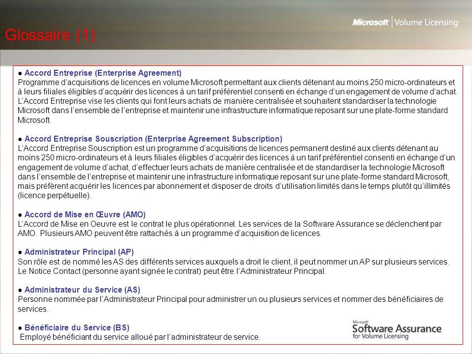 Glossaire (1) ● Accord Entreprise (Enterprise Agreement)