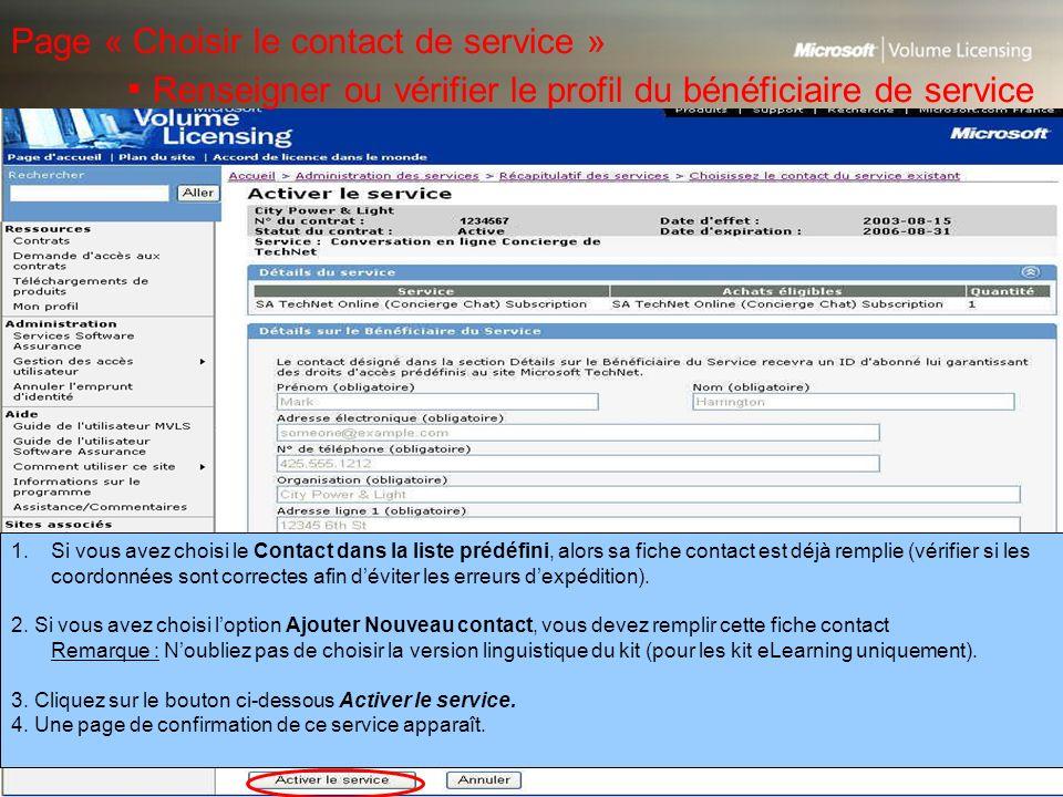 Page « Choisir le contact de service »