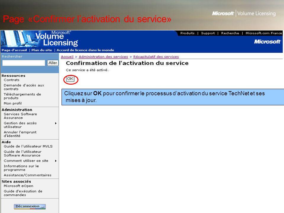 Page «Confirmer l'activation du service»