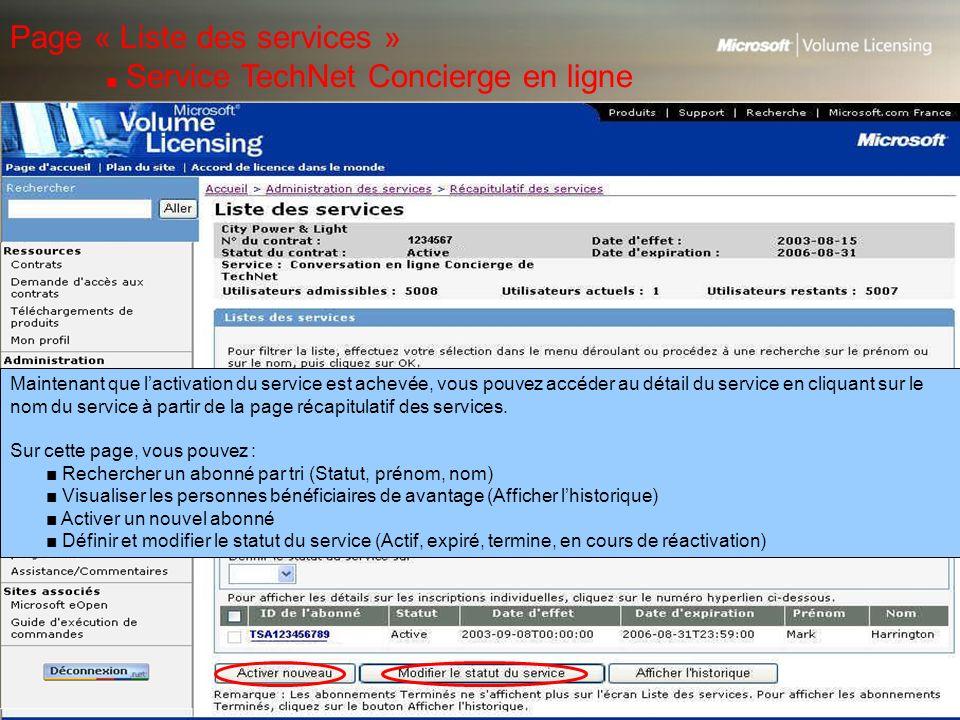 Page « Liste des services » ■ Service TechNet Concierge en ligne