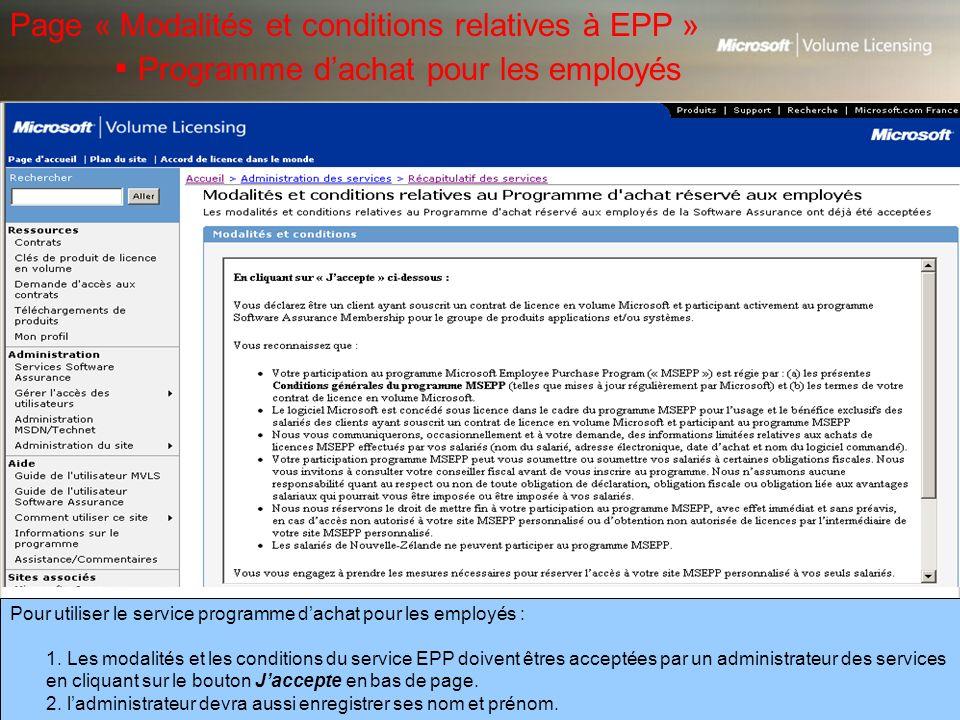Page « Modalités et conditions relatives à EPP »