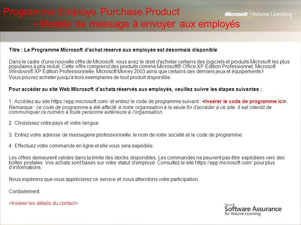 Programme Employe Purchase Product
