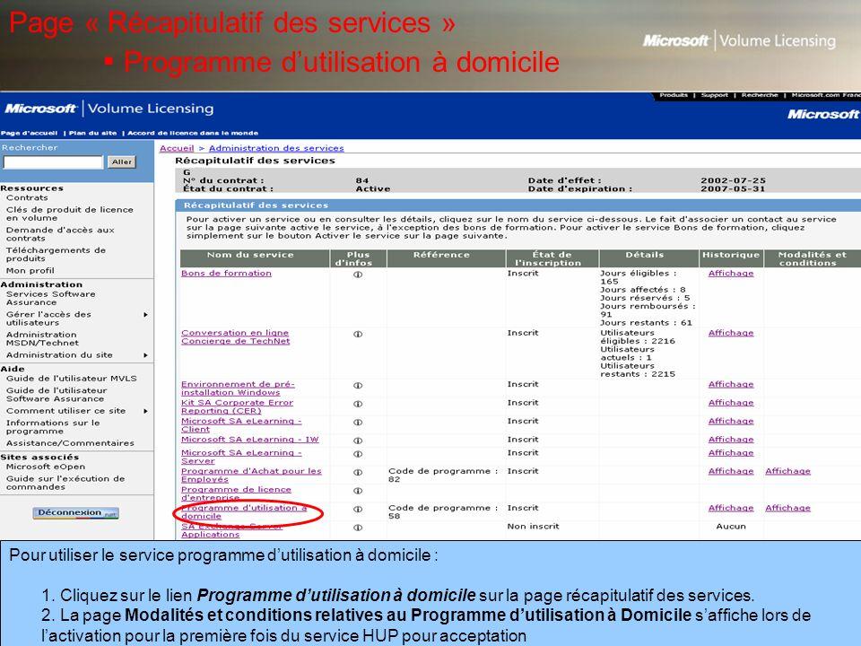 Page « Récapitulatif des services »