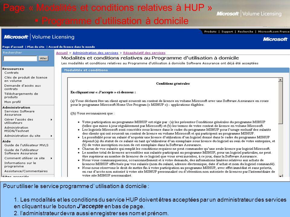 Page « Modalités et conditions relatives à HUP »