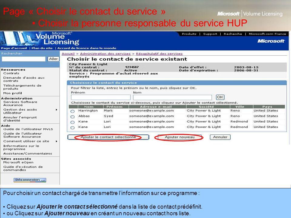 Page « Choisir le contact du service »