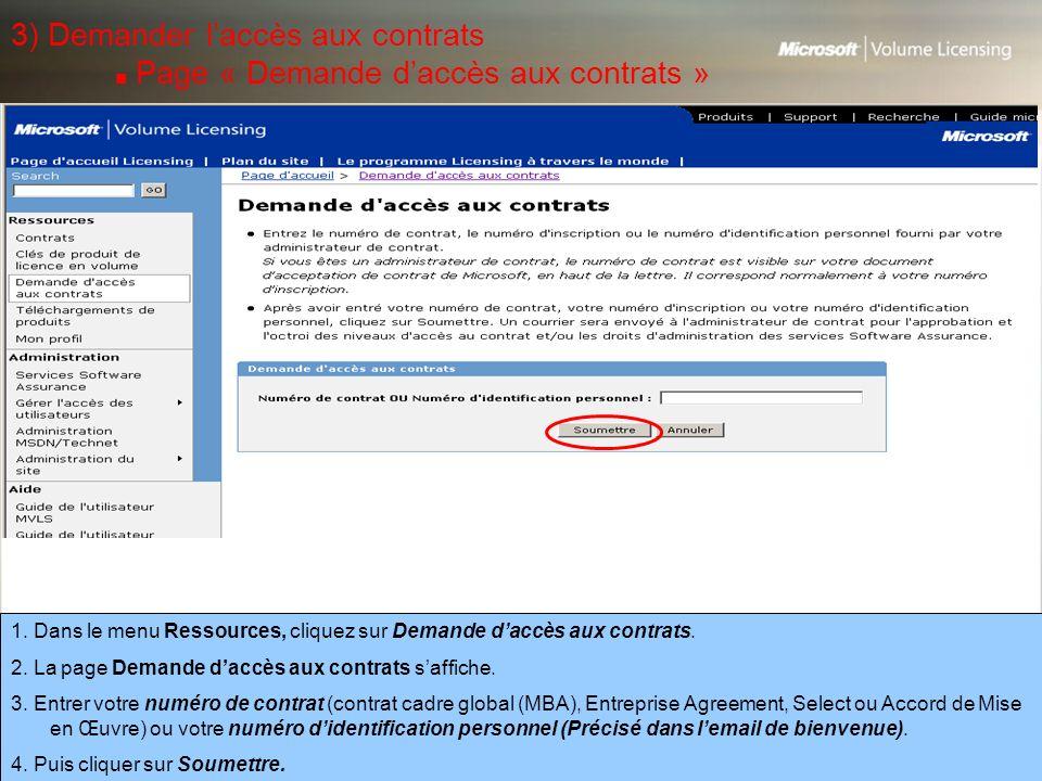 3) Demander l'accès aux contrats