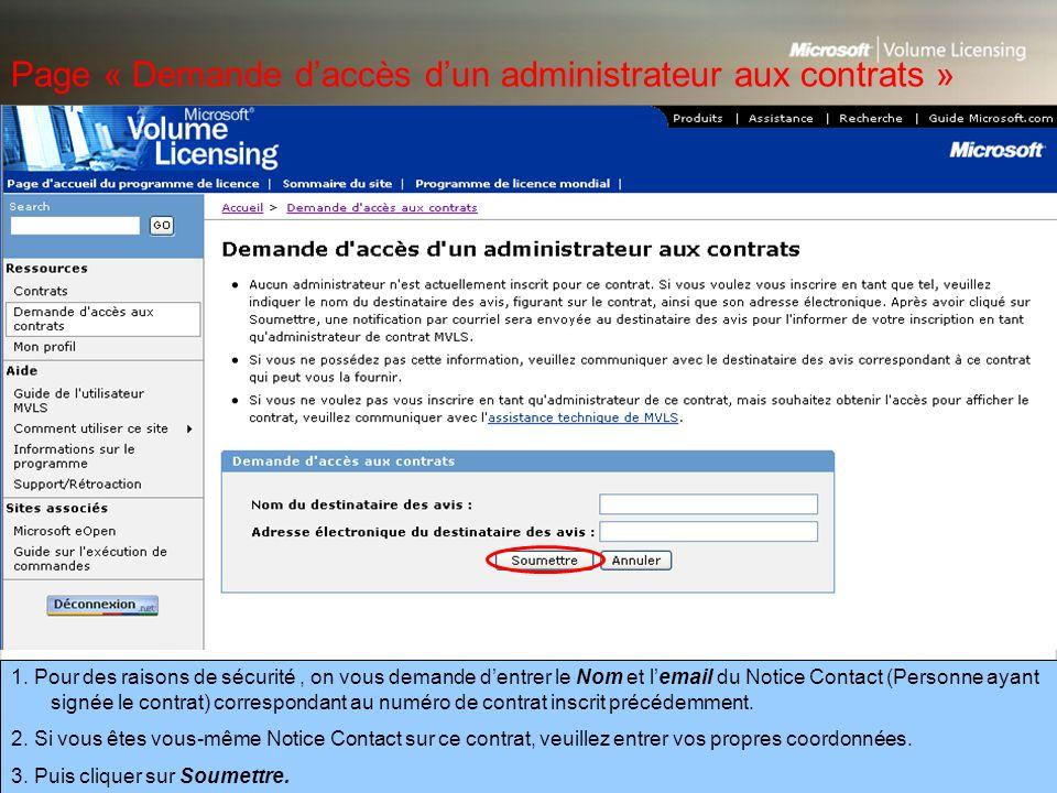 Page « Demande d'accès d'un administrateur aux contrats »