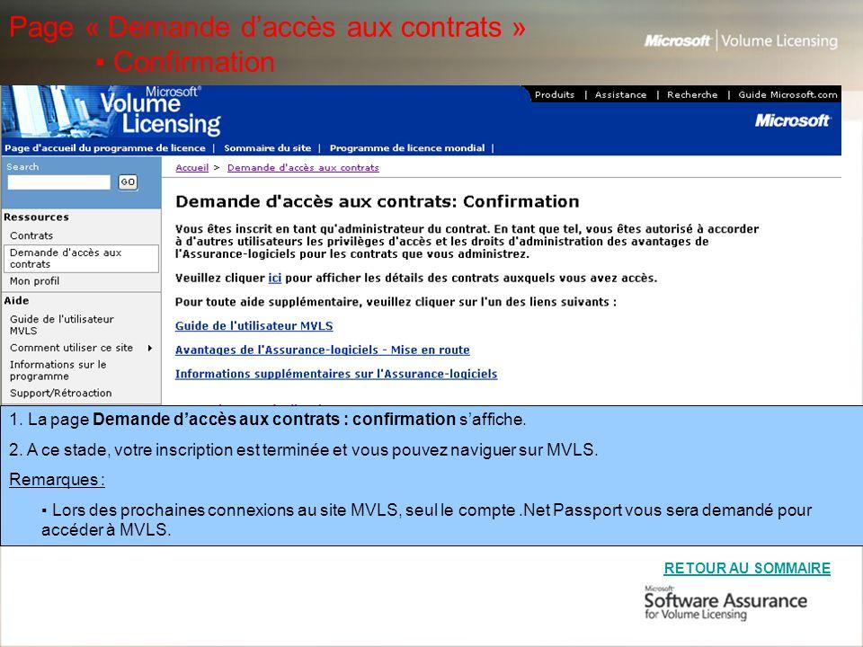Page « Demande d'accès aux contrats » ▪ Confirmation