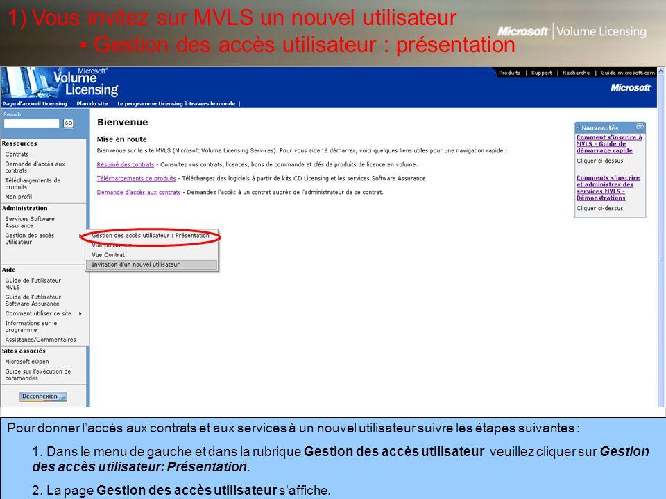 Vous invitez sur MVLS un nouvel utilisateur
