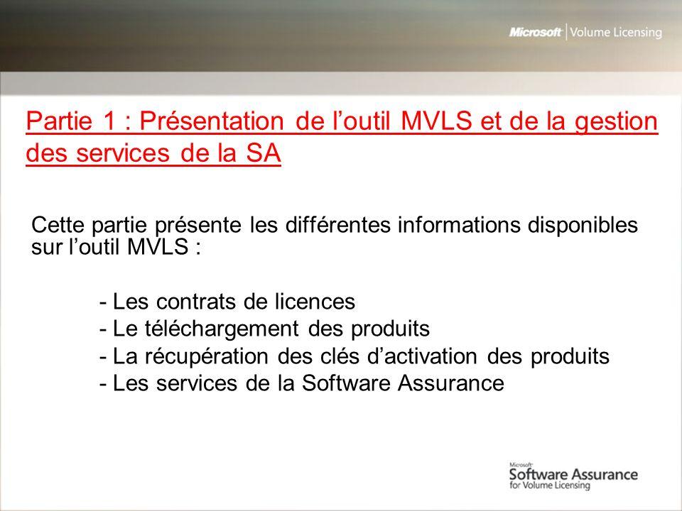 Partie 1 : Présentation de l'outil MVLS et de la gestion des services de la SA