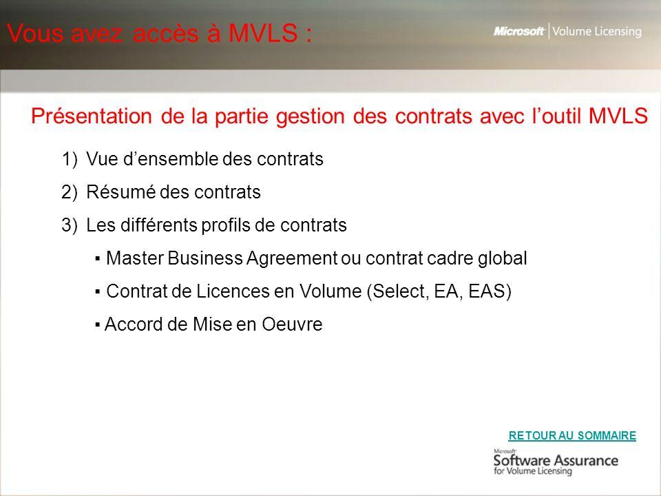 Présentation de la partie gestion des contrats avec l'outil MVLS