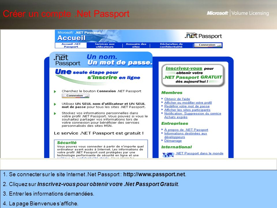 Créer un compte .Net Passport