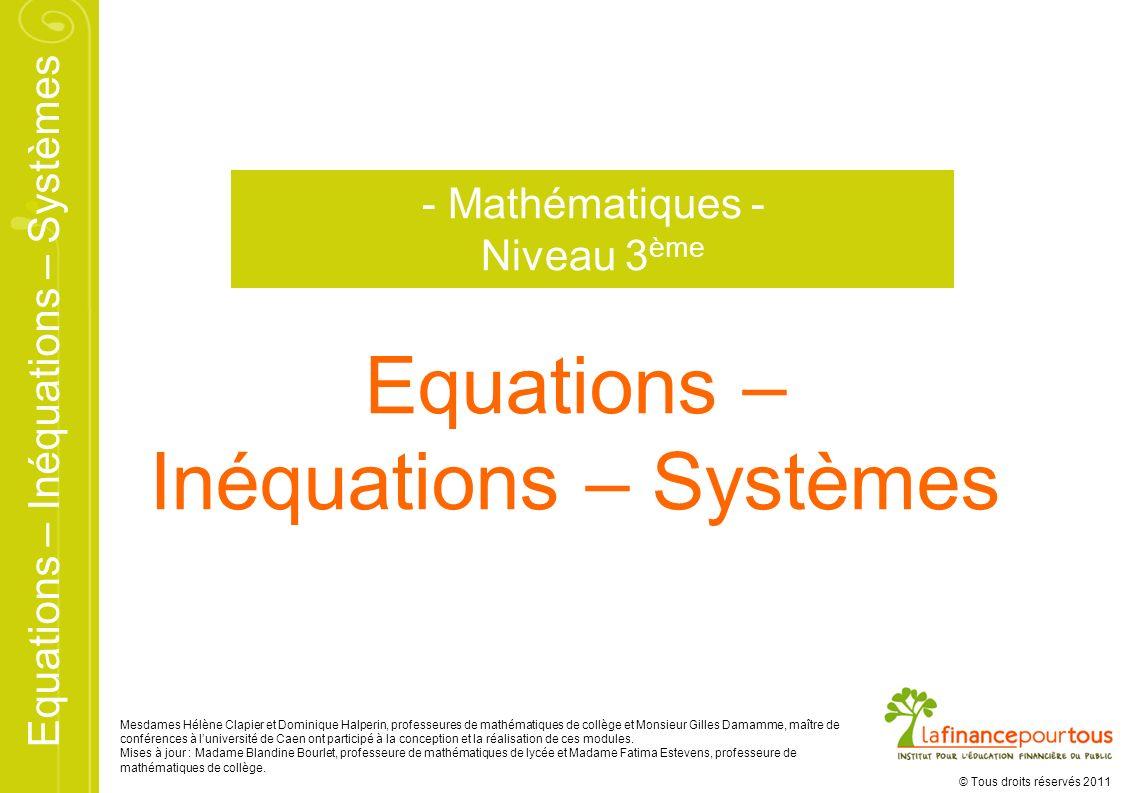 Inéquations – Systèmes