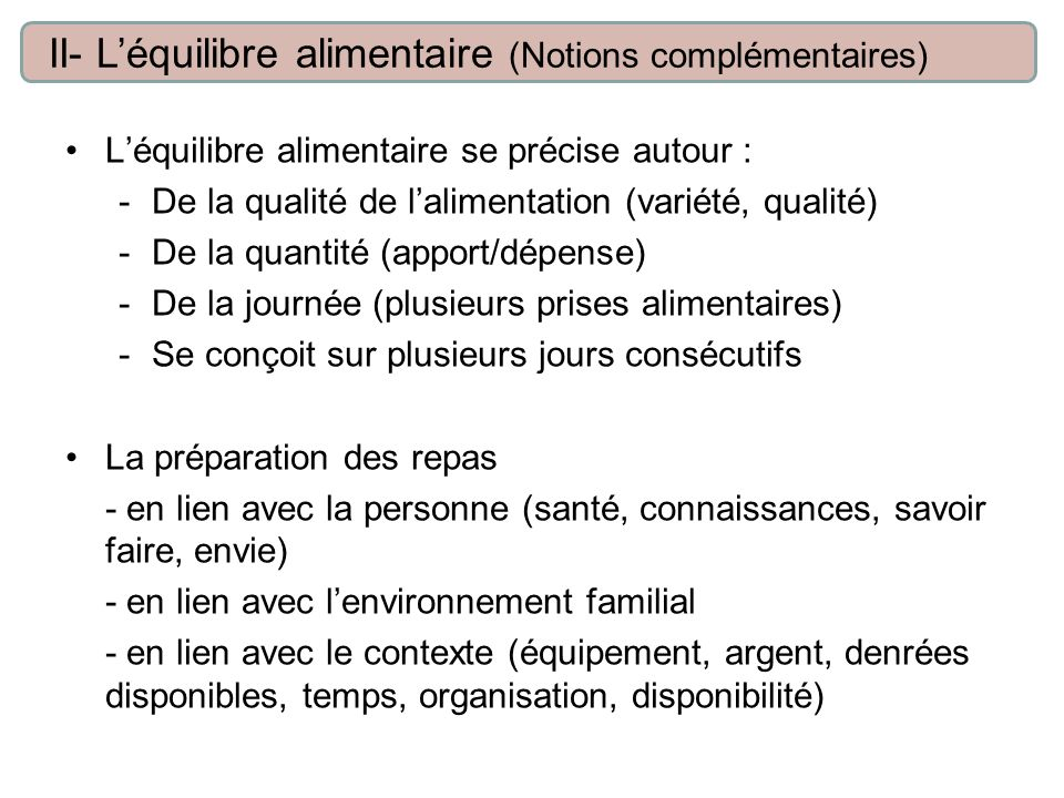 II- L'équilibre alimentaire (Notions complémentaires)
