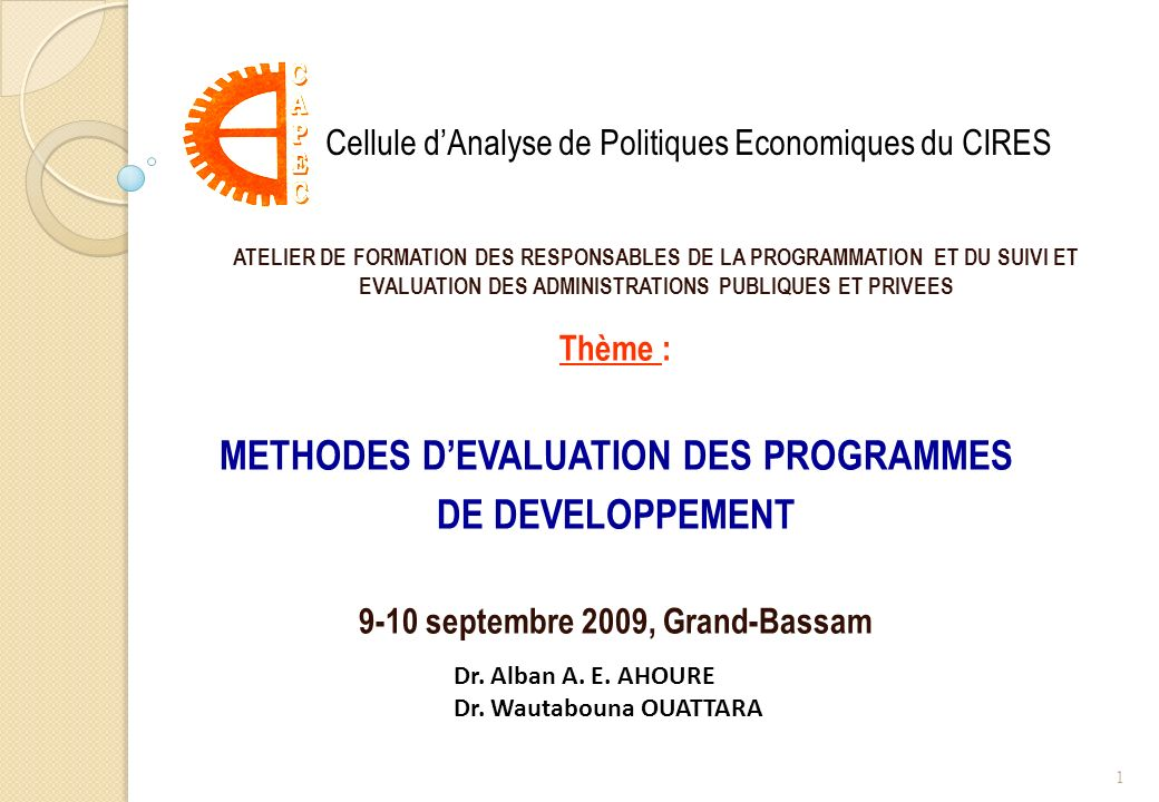 METHODES D'EVALUATION DES PROGRAMMES