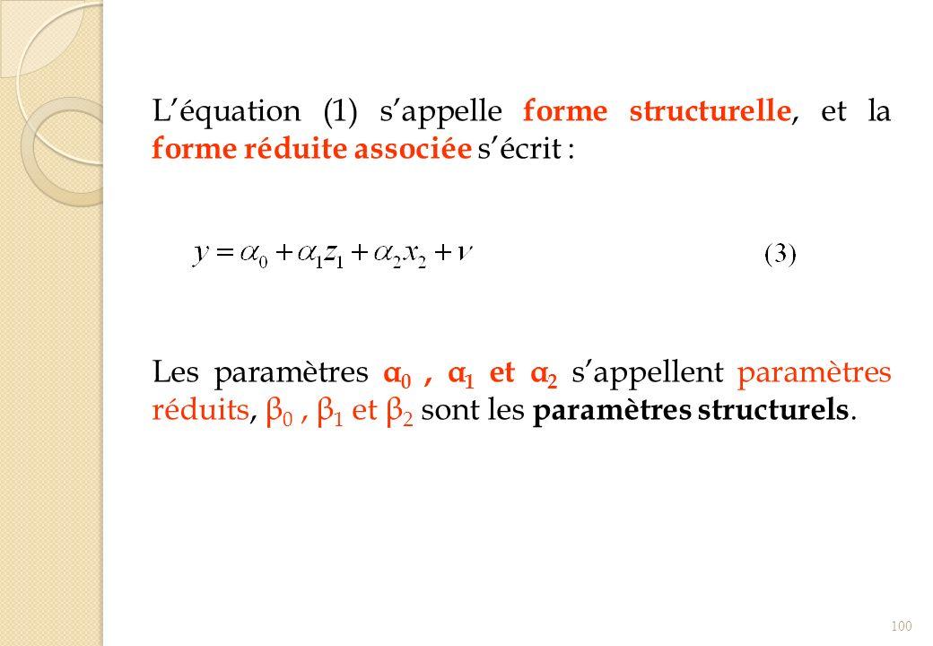 L'équation (1) s'appelle forme structurelle, et la forme réduite associée s'écrit :