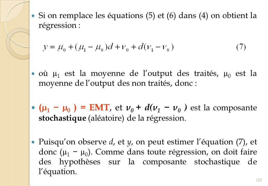 Si on remplace les équations (5) et (6) dans (4) on obtient la régression :