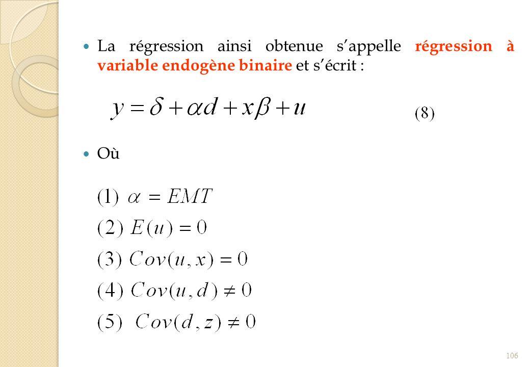 La régression ainsi obtenue s'appelle régression à variable endogène binaire et s'écrit :
