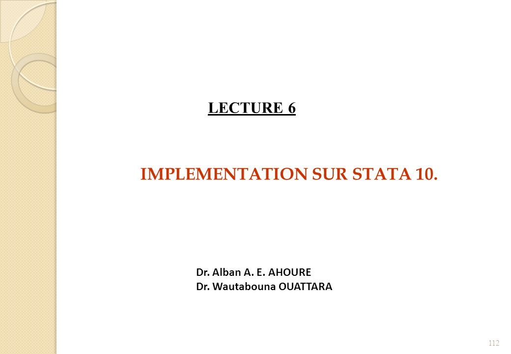IMPLEMENTATION SUR STATA 10.