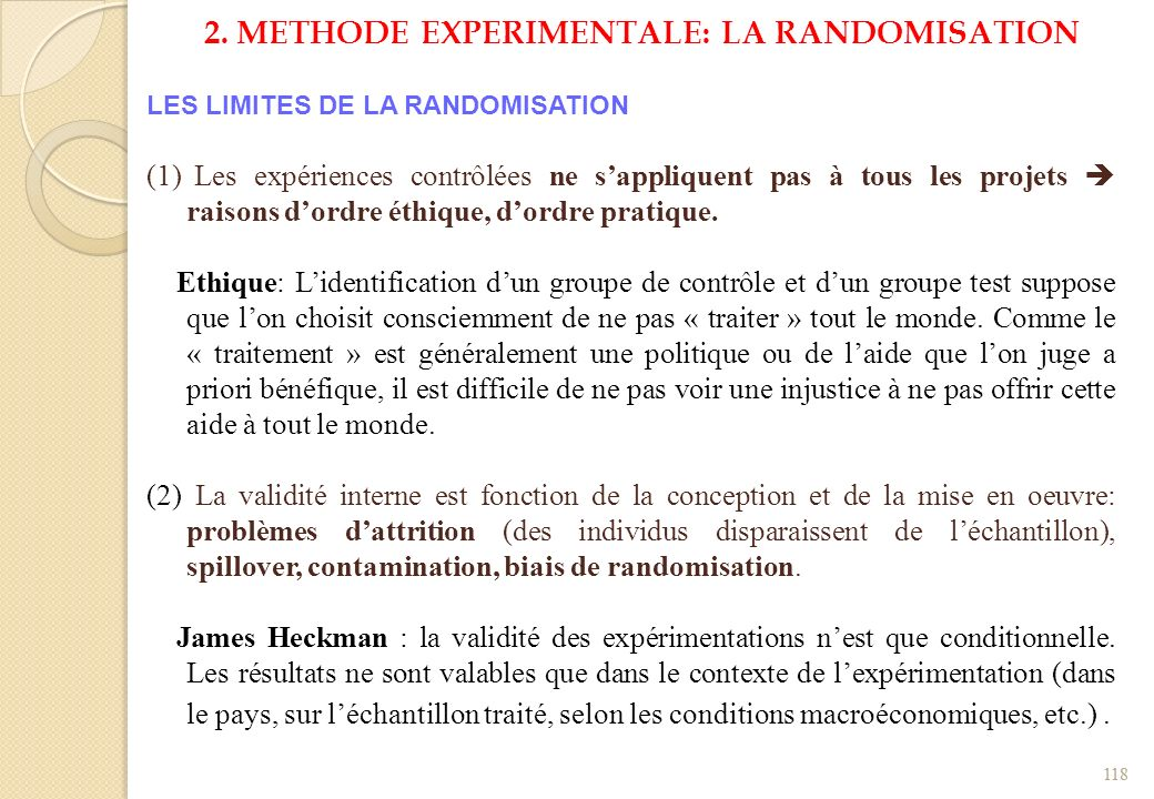 2. METHODE EXPERIMENTALE: LA RANDOMISATION