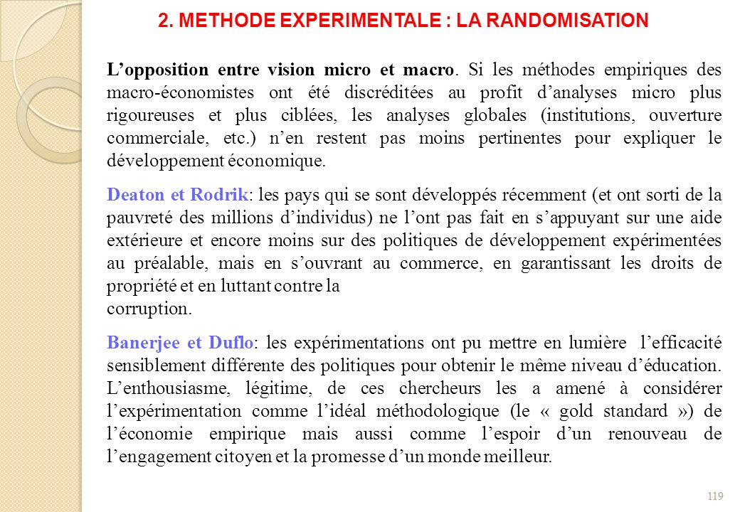 2. METHODE EXPERIMENTALE : LA RANDOMISATION
