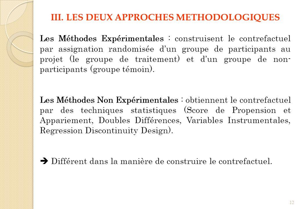 III. LES DEUX APPROCHES METHODOLOGIQUES