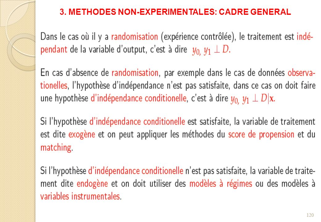 3. METHODES NON-EXPERIMENTALES: CADRE GENERAL