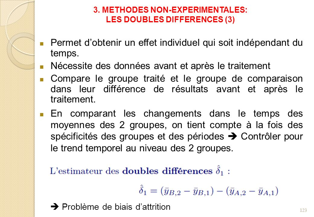 3. METHODES NON-EXPERIMENTALES: LES DOUBLES DIFFERENCES (3)