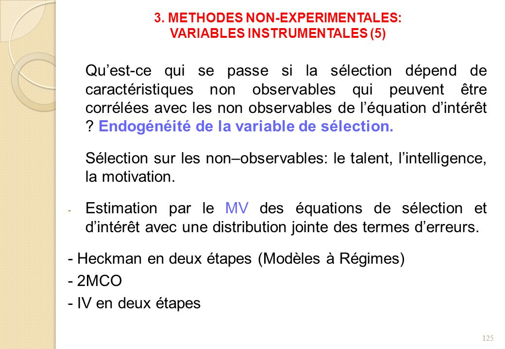 3. METHODES NON-EXPERIMENTALES: VARIABLES INSTRUMENTALES (5)