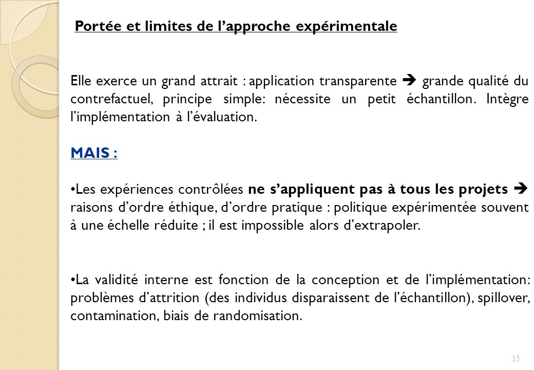 Portée et limites de l'approche expérimentale