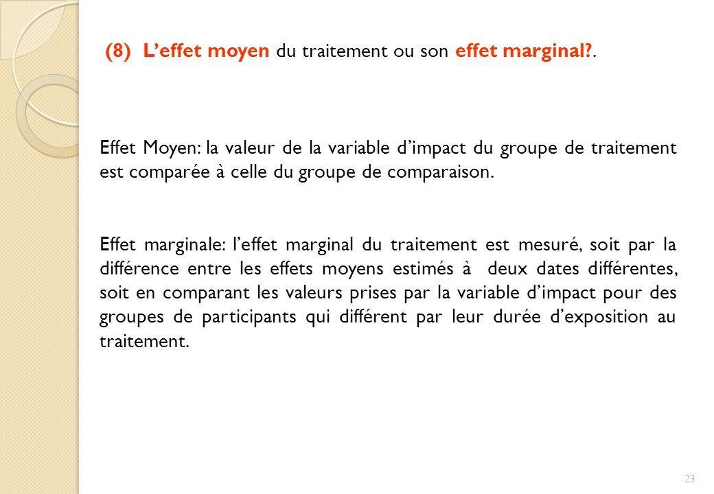 (8) L'effet moyen du traitement ou son effet marginal .
