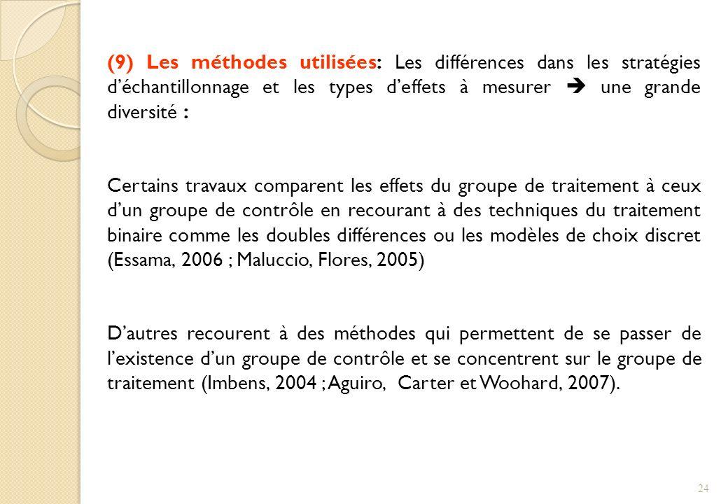 (9) Les méthodes utilisées: Les différences dans les stratégies d'échantillonnage et les types d'effets à mesurer  une grande diversité :