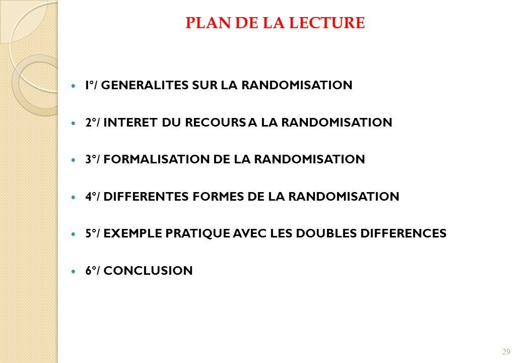 PLAN DE LA LECTURE I°/ GENERALITES SUR LA RANDOMISATION