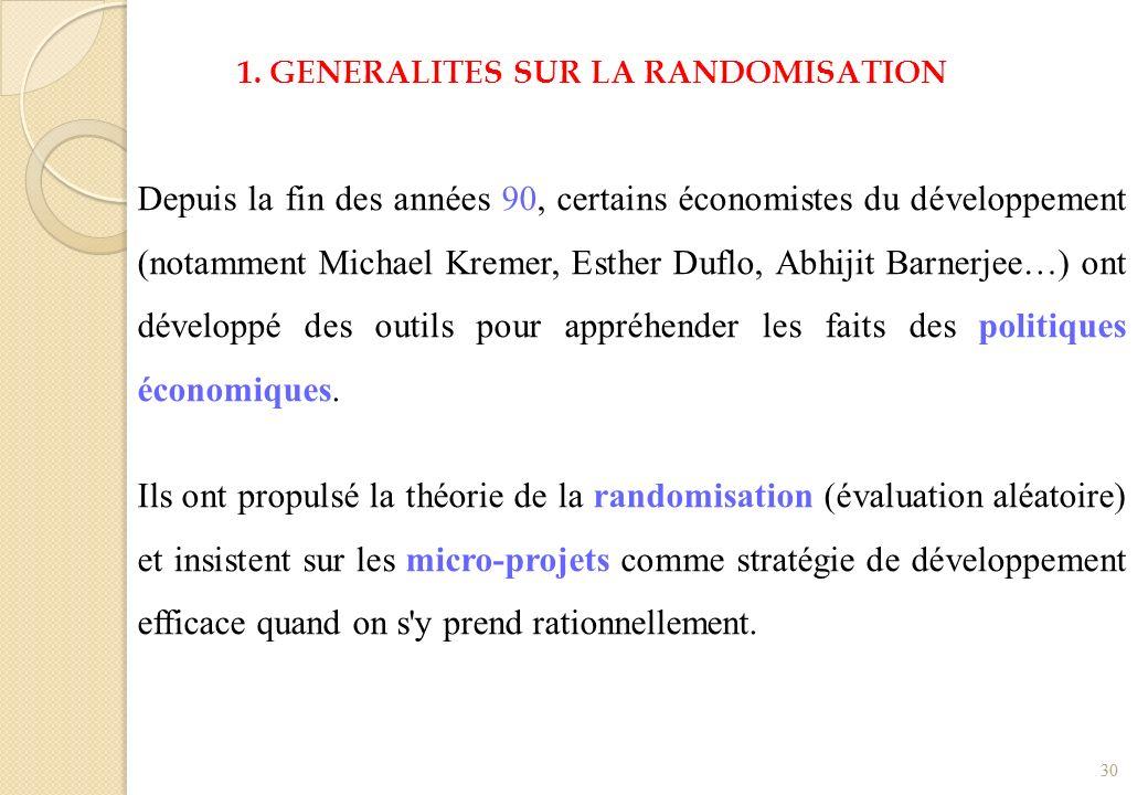 1. GENERALITES SUR LA RANDOMISATION