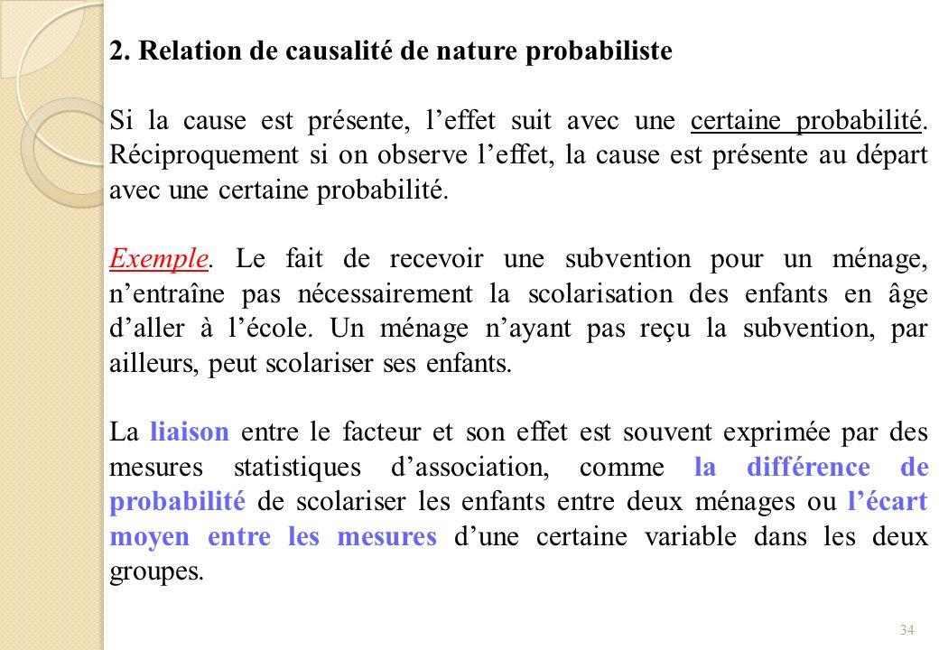2. Relation de causalité de nature probabiliste