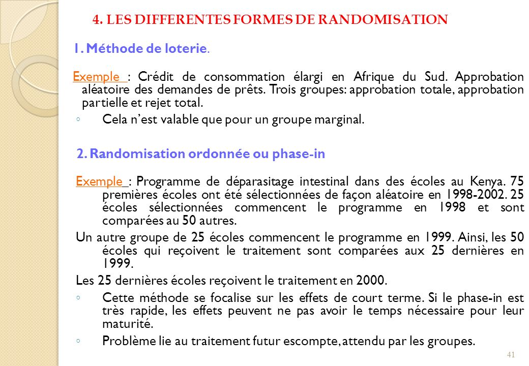 4. LES DIFFERENTES FORMES DE RANDOMISATION