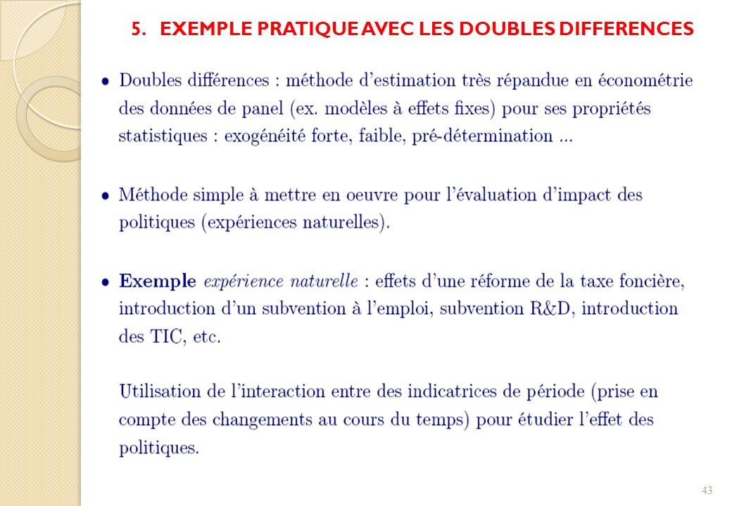 5. EXEMPLE PRATIQUE AVEC LES DOUBLES DIFFERENCES