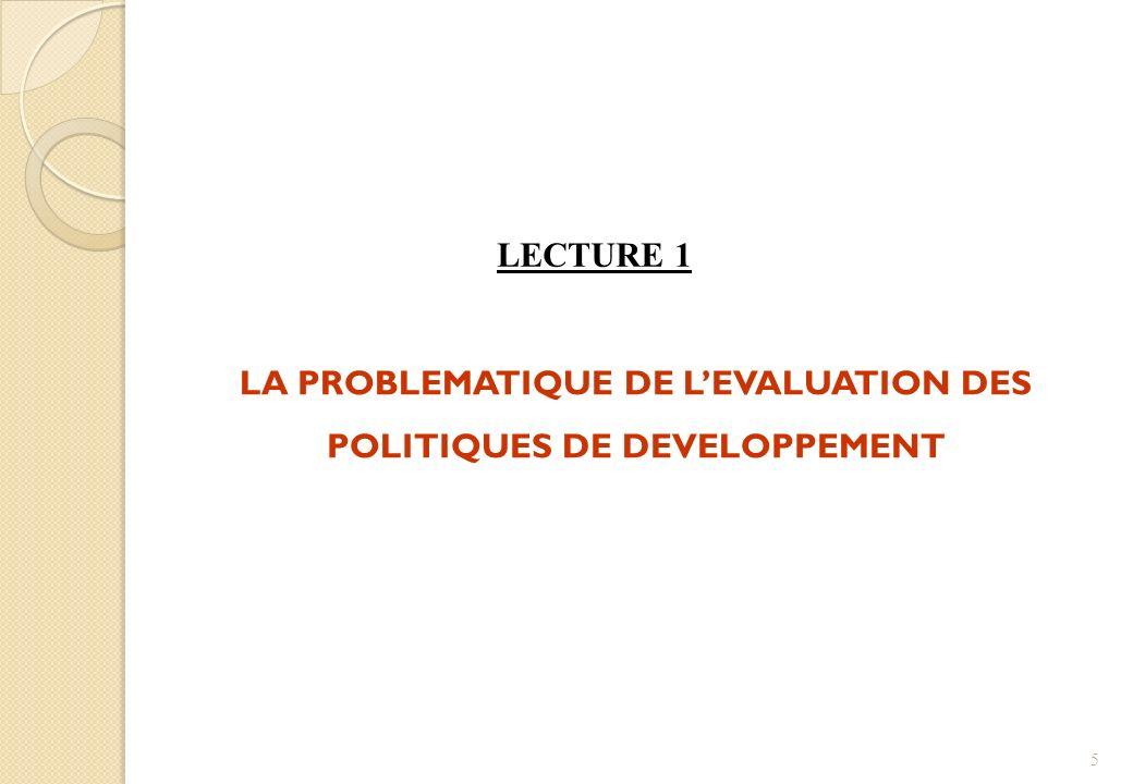 LA PROBLEMATIQUE DE L'EVALUATION DES POLITIQUES DE DEVELOPPEMENT