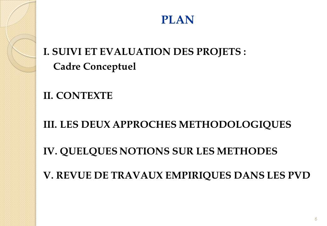 PLAN I. SUIVI ET EVALUATION DES PROJETS : Cadre Conceptuel