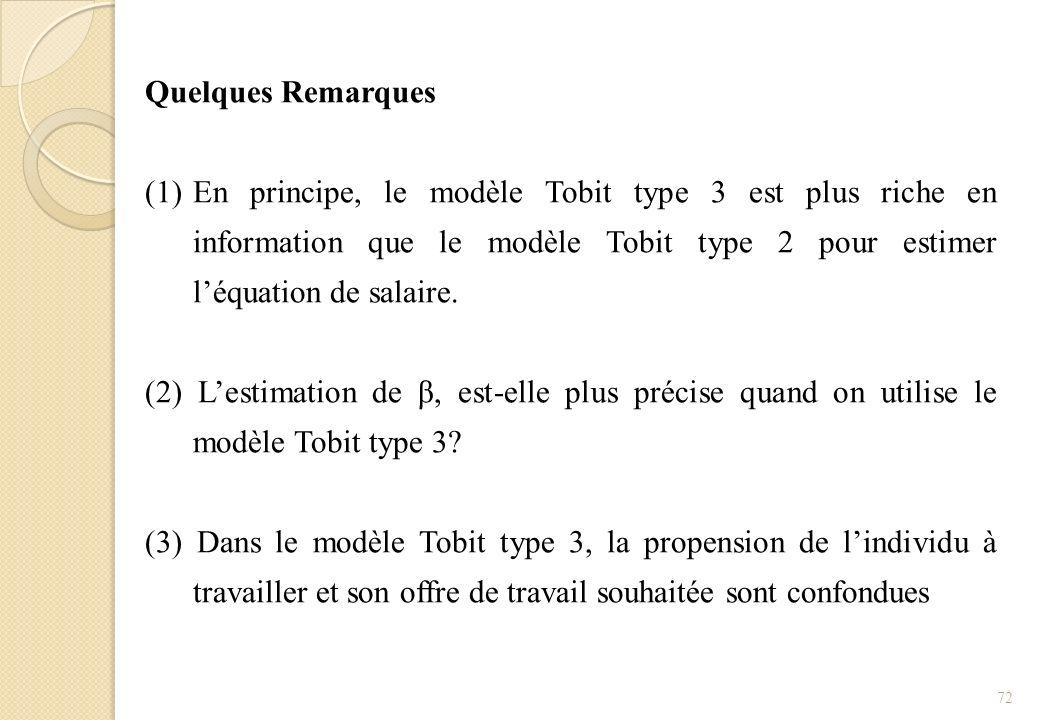 Quelques Remarques En principe, le modèle Tobit type 3 est plus riche en information que le modèle Tobit type 2 pour estimer l'équation de salaire.
