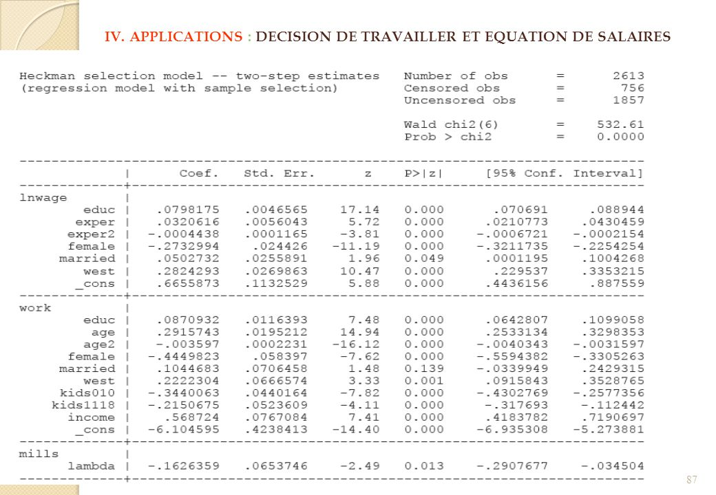 IV. APPLICATIONS : DECISION DE TRAVAILLER ET EQUATION DE SALAIRES