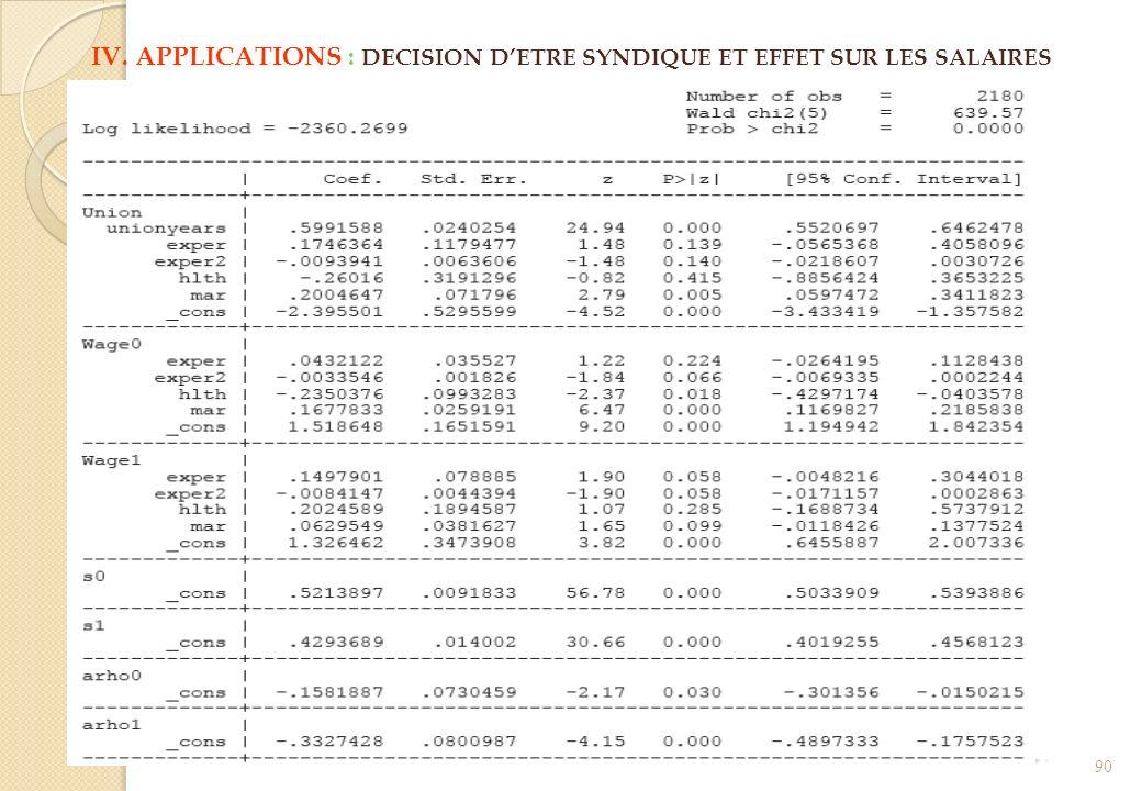 IV. APPLICATIONS : DECISION D'ETRE SYNDIQUE ET EFFET SUR LES SALAIRES