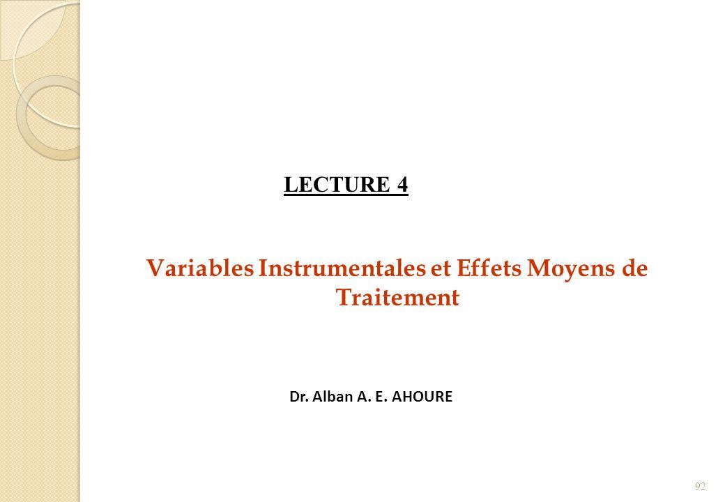 Variables Instrumentales et Effets Moyens de Traitement
