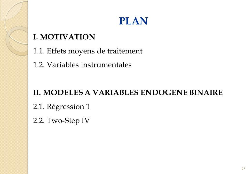 PLAN I. MOTIVATION 1.1. Effets moyens de traitement