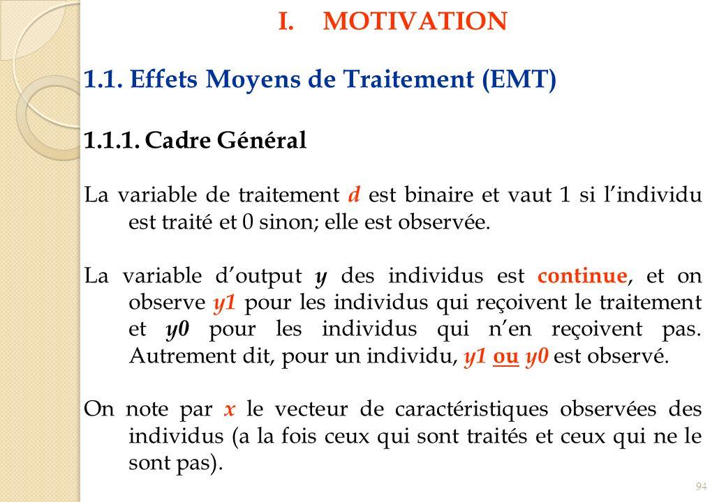 1.1. Effets Moyens de Traitement (EMT)